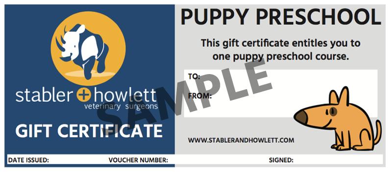 puppy preschool voucher sample